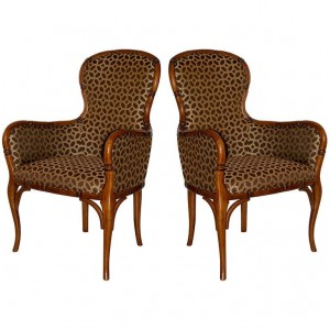 Pair of French Hand Carved Bamboo Club Chairs in Fruitwood