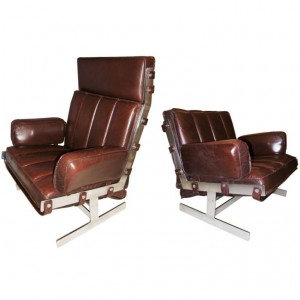 Pair of Arne Norell Steel & Leather Club Chairs