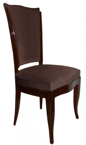 Set of 6 French High Back Walnut Dining Chairs