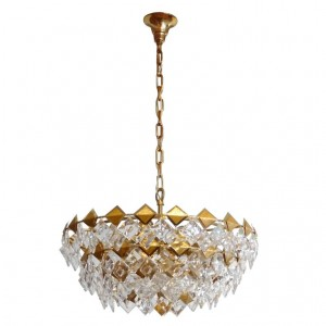 Gilt Brass and Glass Chandelier by Palwa