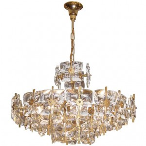 Gilt Brass and Glass Tiered Chandelier by Palwa