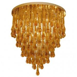 Barovier & Toso Large Amber Glass Teardrop Chandelier