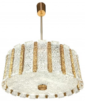 Austrian Textured Glass and Brass Chandelier