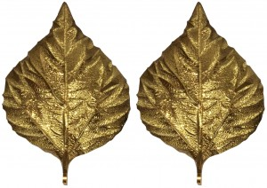 Pair of Large Brass Leaf Sconces by Tommaso Barbi