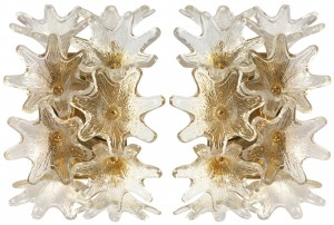 Pair of Italian Brass and Glass Sconces (Three Pair Available)