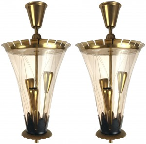 Pair of Italian Etched Glass and Brass Pendants