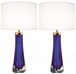 Pair of Thick Cased Purple Glass Lamps from Craig Van Den Brulle to Order