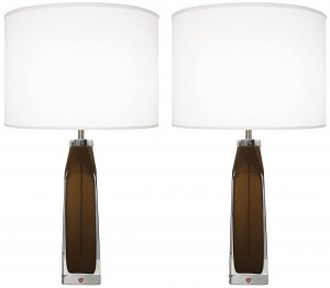 Pair of Topaz and Clear Glass Lamps by Carl Fagerlund for Orrefors