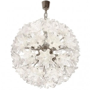 Murano Chrome and Glass Flower Ball Chandelier