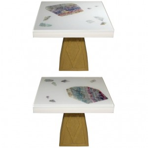 Pair of Cast Resin and Flourite Coffee Tables by Michael Laut