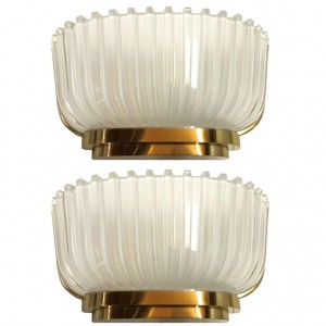 Pair of Archimede Seguso Fluted Glass Sconces