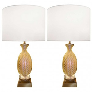 Pair of Barovier Brass and Fluted Glass Lamps