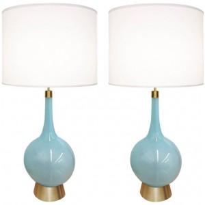 Pair of Italian Blue Glass Lamps