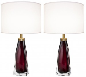 Pair of Raspberry and Clear Glass Lamps by Carl Fagerlund for Orrefors