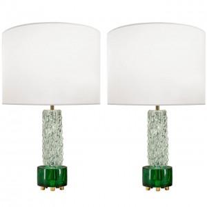 Pair of Scandinavian Glass Lamps