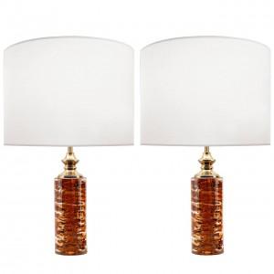 Pair of Swedish Deep Amber Glass Lamps