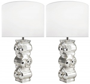 Pair of Swedish Textured Glass Lamps