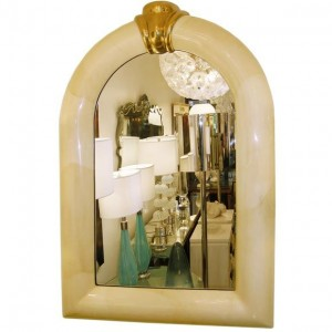 Large Goat Skin Mirror with Brass Detail