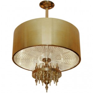 Ragnatella Chandelier Solid Brass Fixture with Starburst Pattern Glass