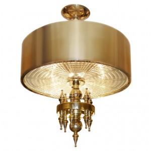 Ragnatella Chandelier Solid Brass with Starburst Pattern Glass