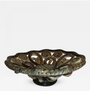 Vallauris Green & Gold Decorative Ceramic Bowl