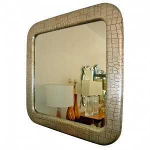 Milo Baughman / Thayer Coggin Large Silver Leafed Leather Mirror