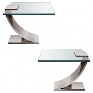 Pair of Polished Nickel and Glass Side Tables