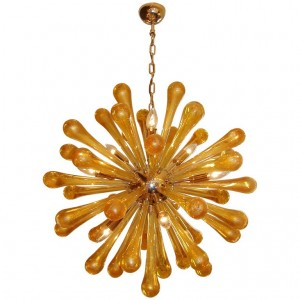 Murano Brass and Amber Glass Sputnik Chandelier