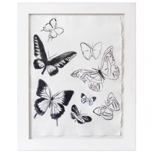 Untitled (Butterflies) Acrylic on Paper by Andy Warhol C. 1986