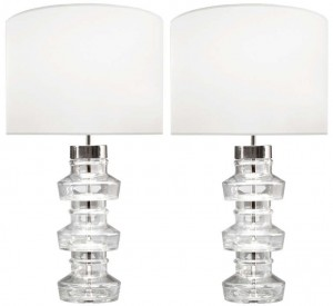 Pair of Carl Fagerlund for Orrefors Clear Glass Lamps