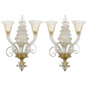 Pair of Ercole Barovier Two-Arm Glass Sconces