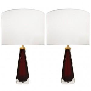 Pair of Nils Landberg for Orrefors Deep Red Glass Lamps