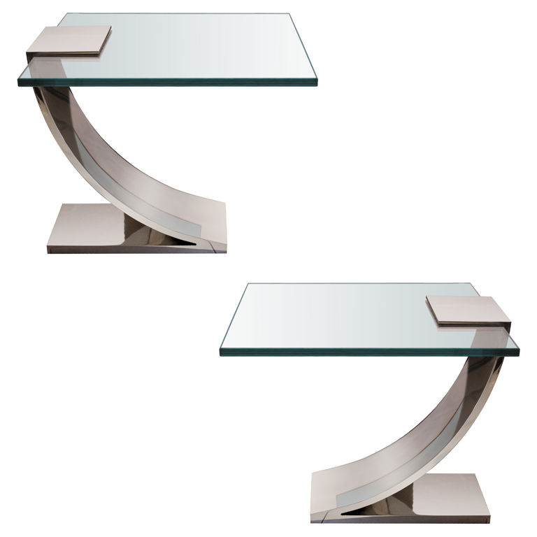 Pair Of Nickel And Glass Side Tables